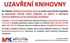 Informace o uzavření knihovny - vyhlášení nouzového stavu v ČR